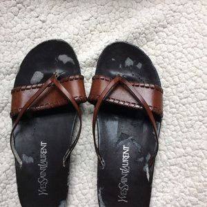 YSL vintage brown leather sandals size 7